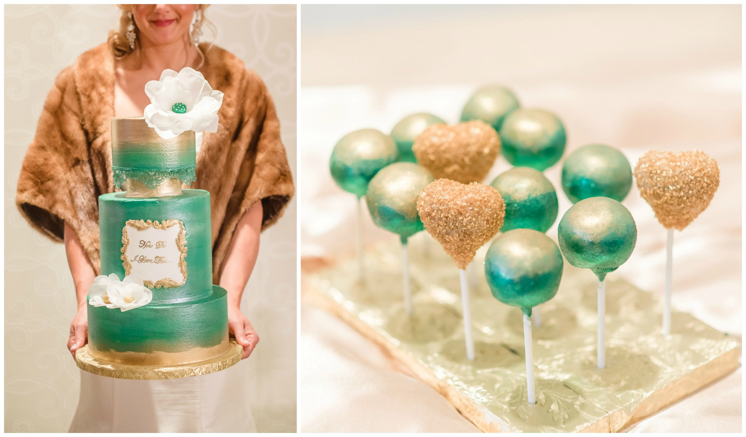 Stunning cake and cake pops created by  B's Sweets , Bride wearing a  Golden Brown Stole  from  The Copper Quail