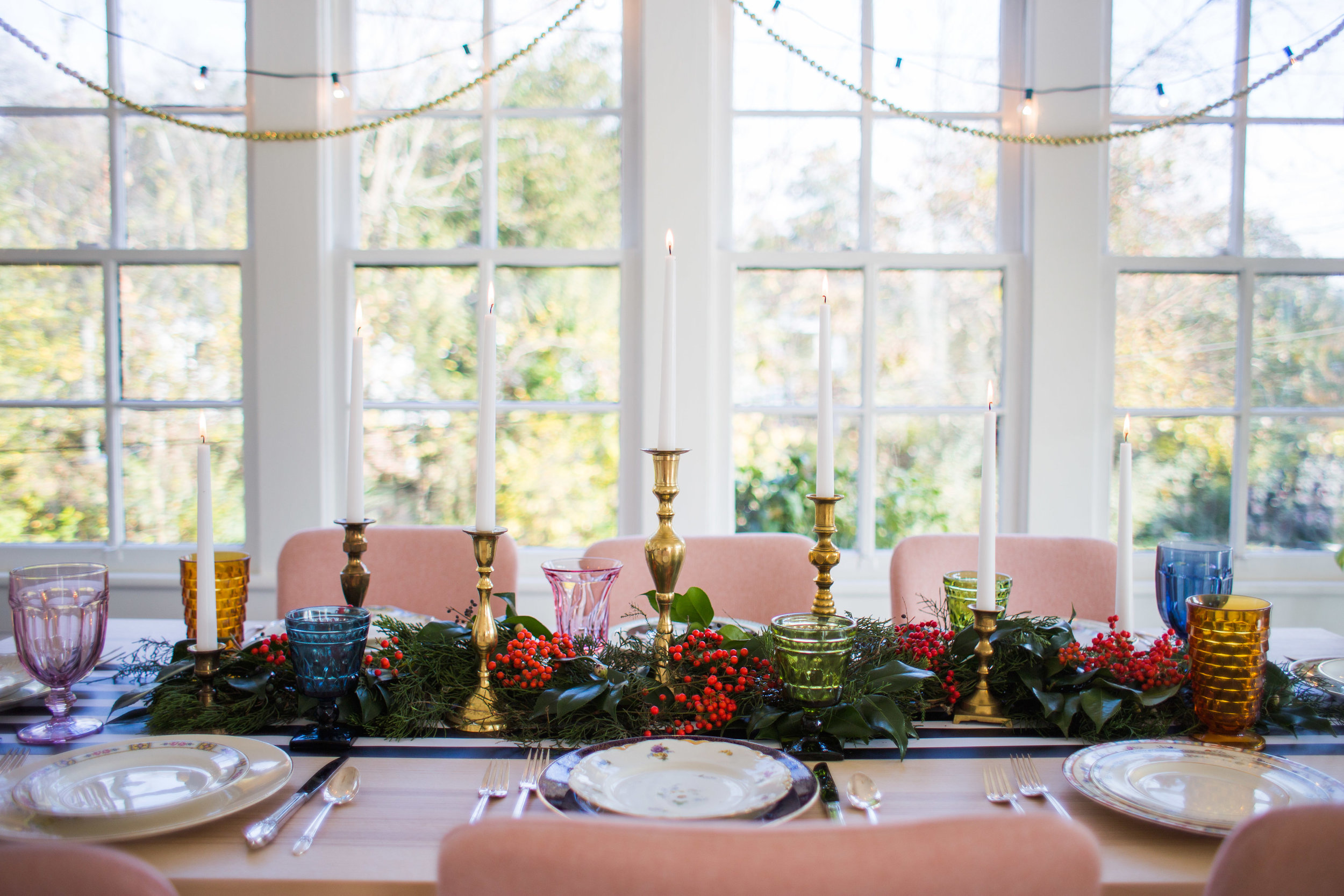Colorful Christmas Table Decor