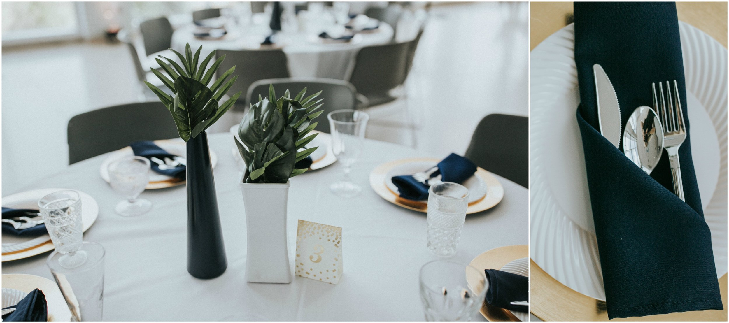 Table Decor from Danielle and Shaun's Modern Wedding at The Knoxville Museum of Art