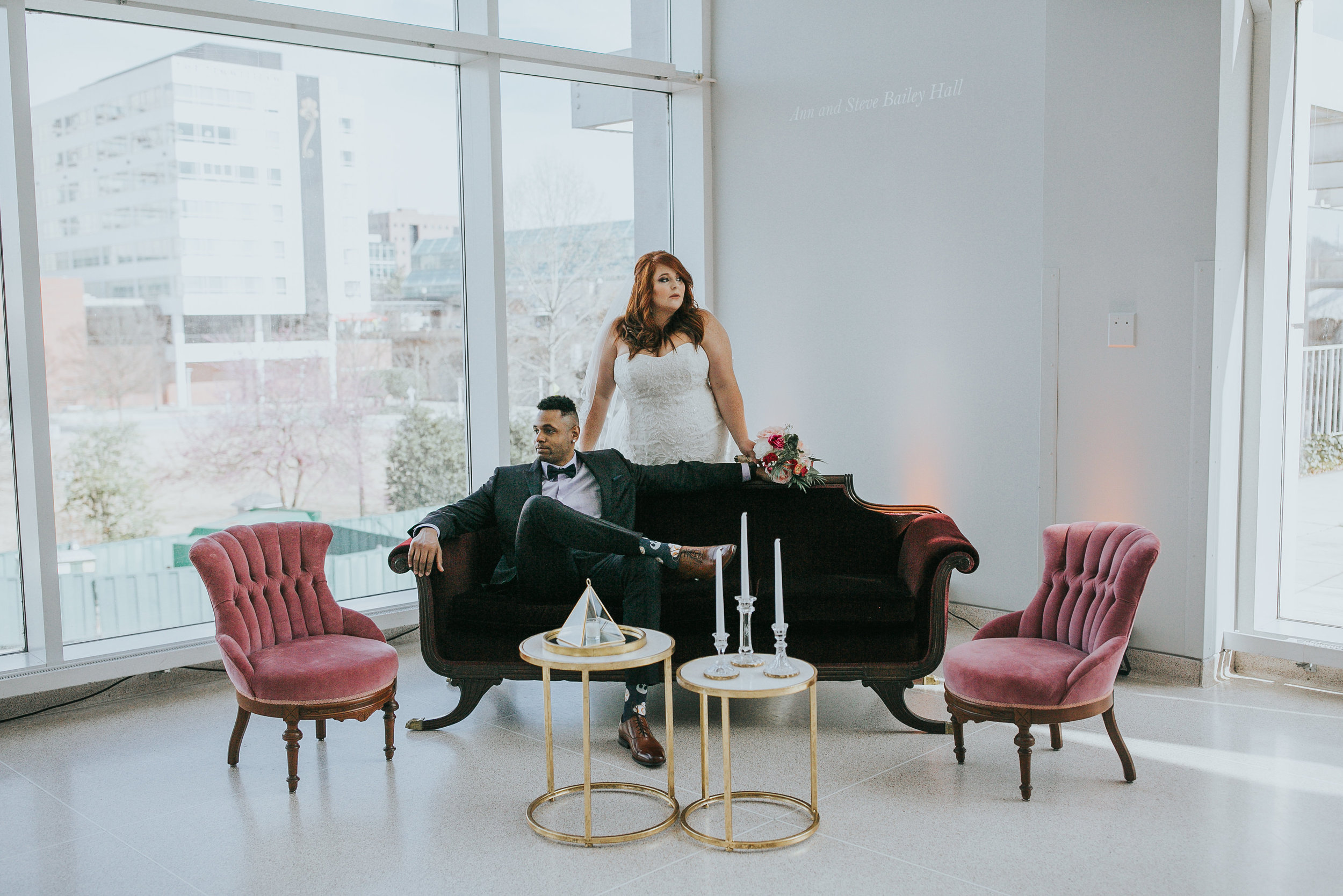 Lounge from Danielle and Shaun's Modern Wedding at The Knoxville Museum of Art