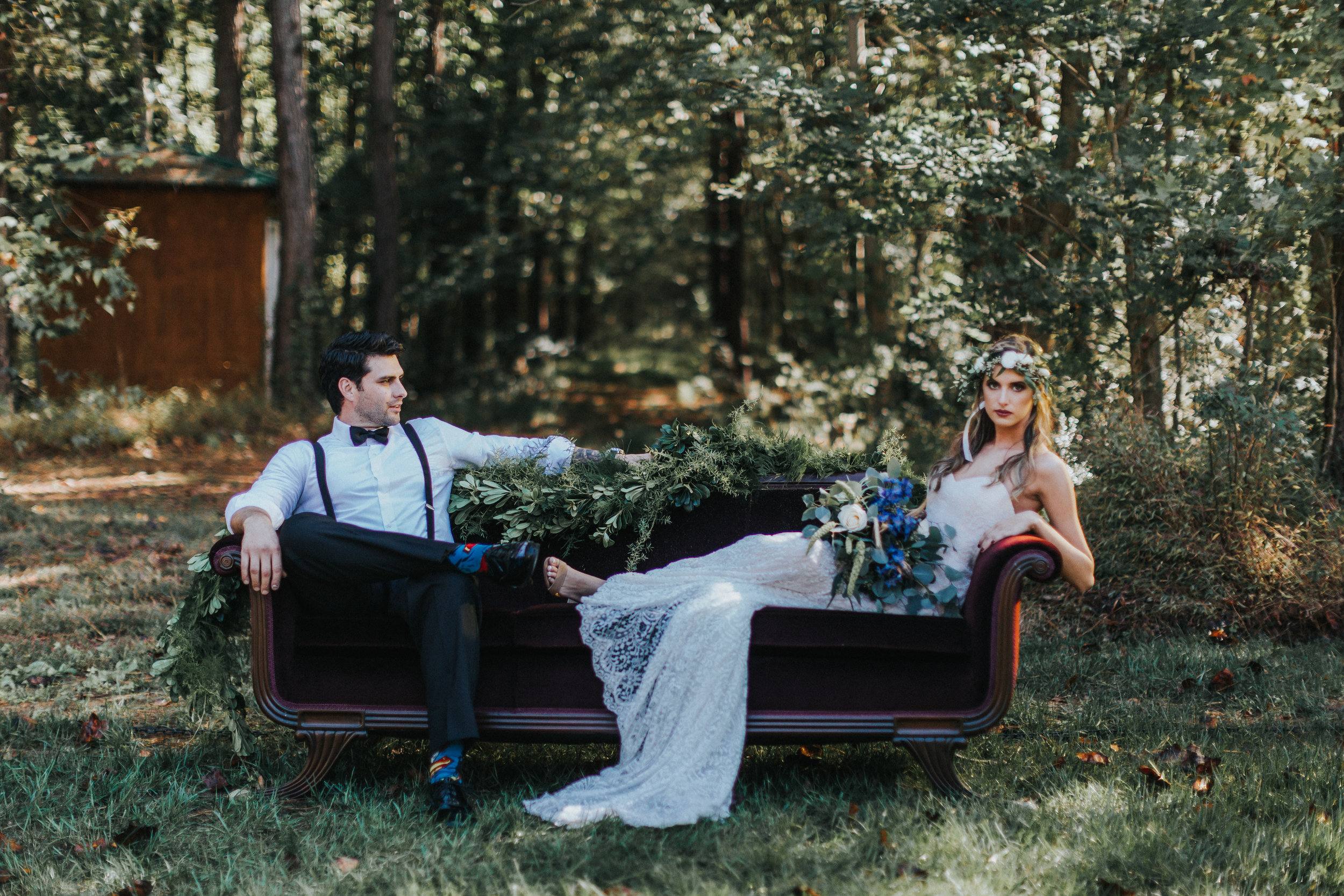 Bride and Groom - Bohemian Styled Shoot at Hiwassee River Weddings