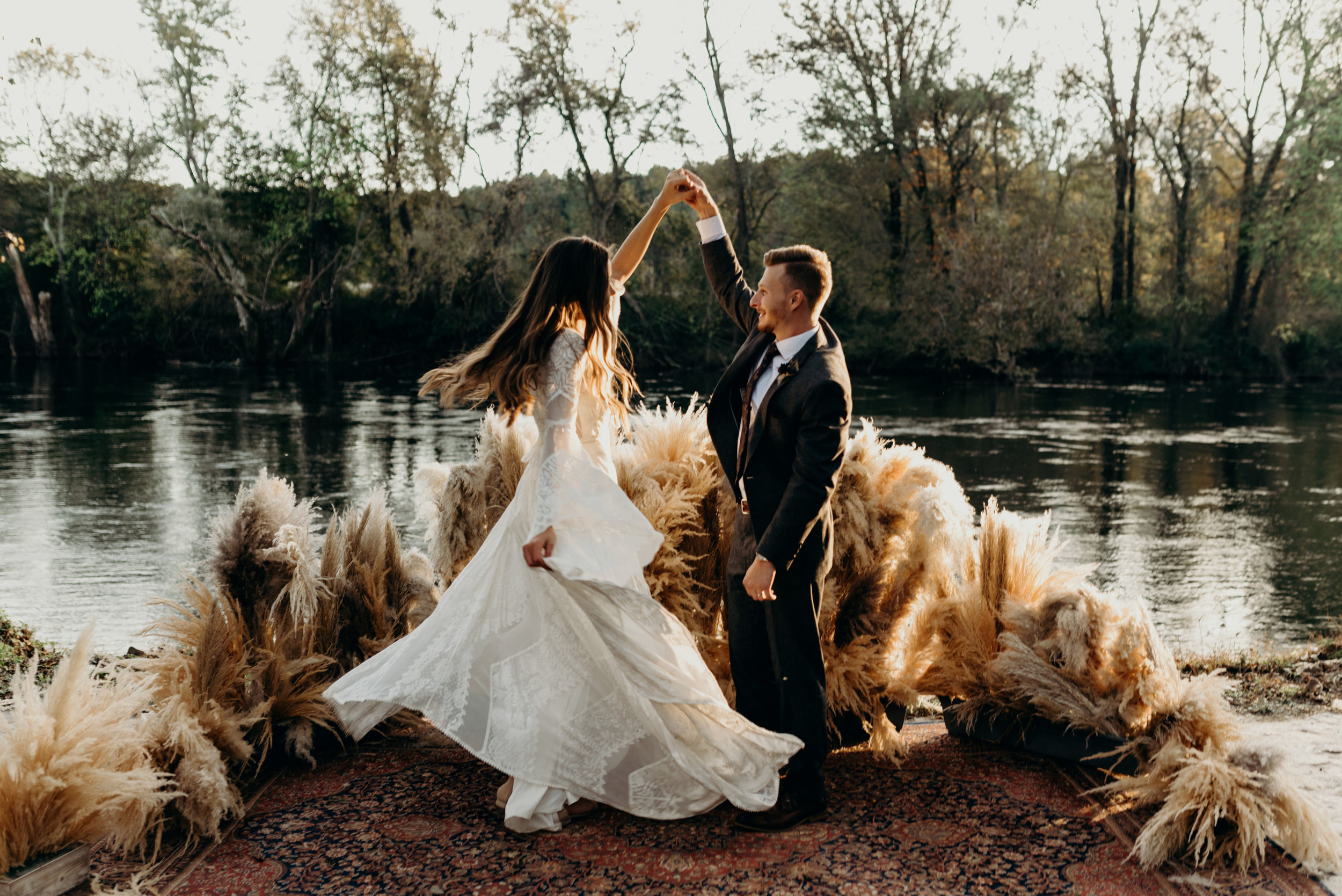 Lauren & Caleb's Boho Wedding at Hiwassee River Weddings