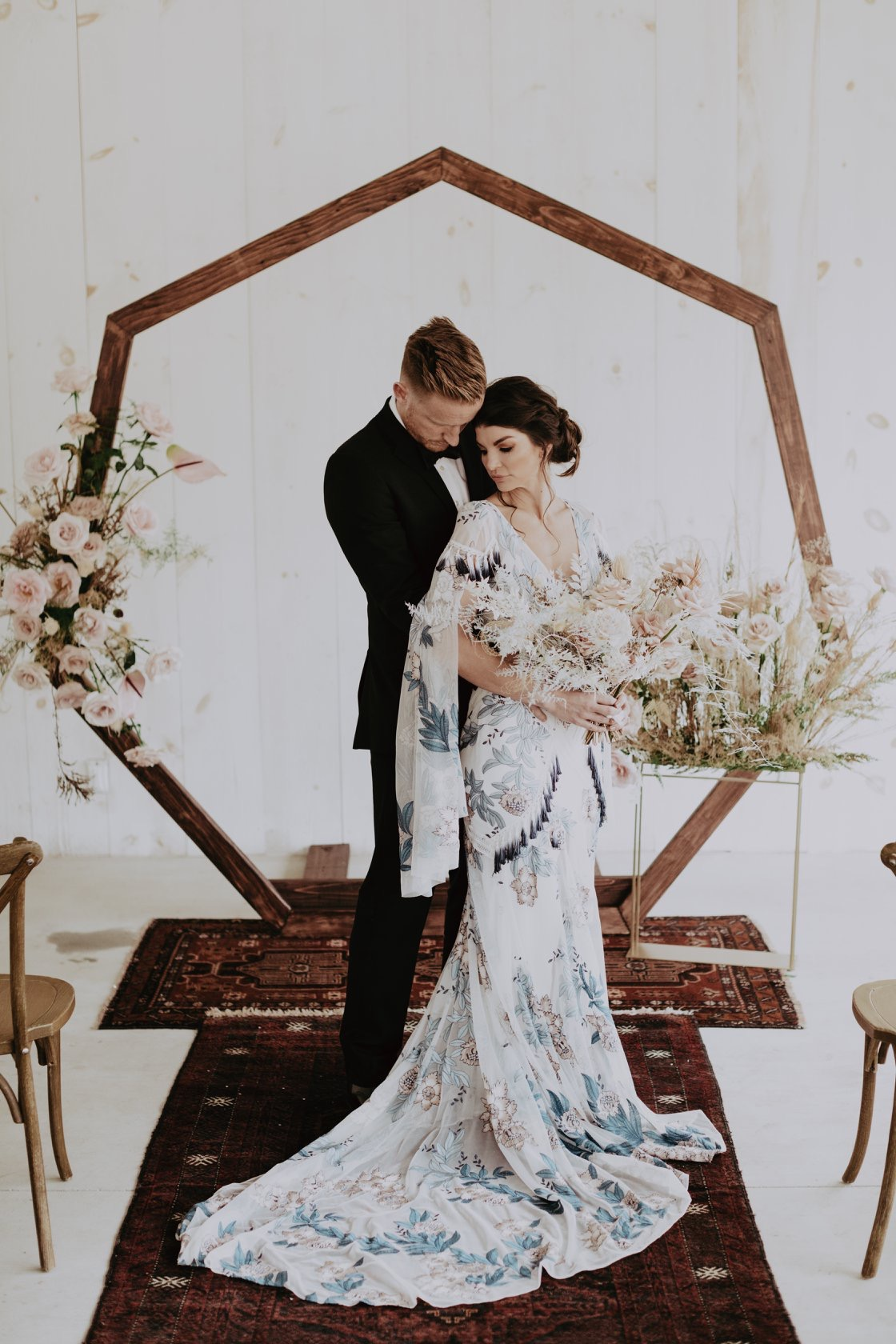 Geometric Backdrop Ceremony Space by The Copper Quail