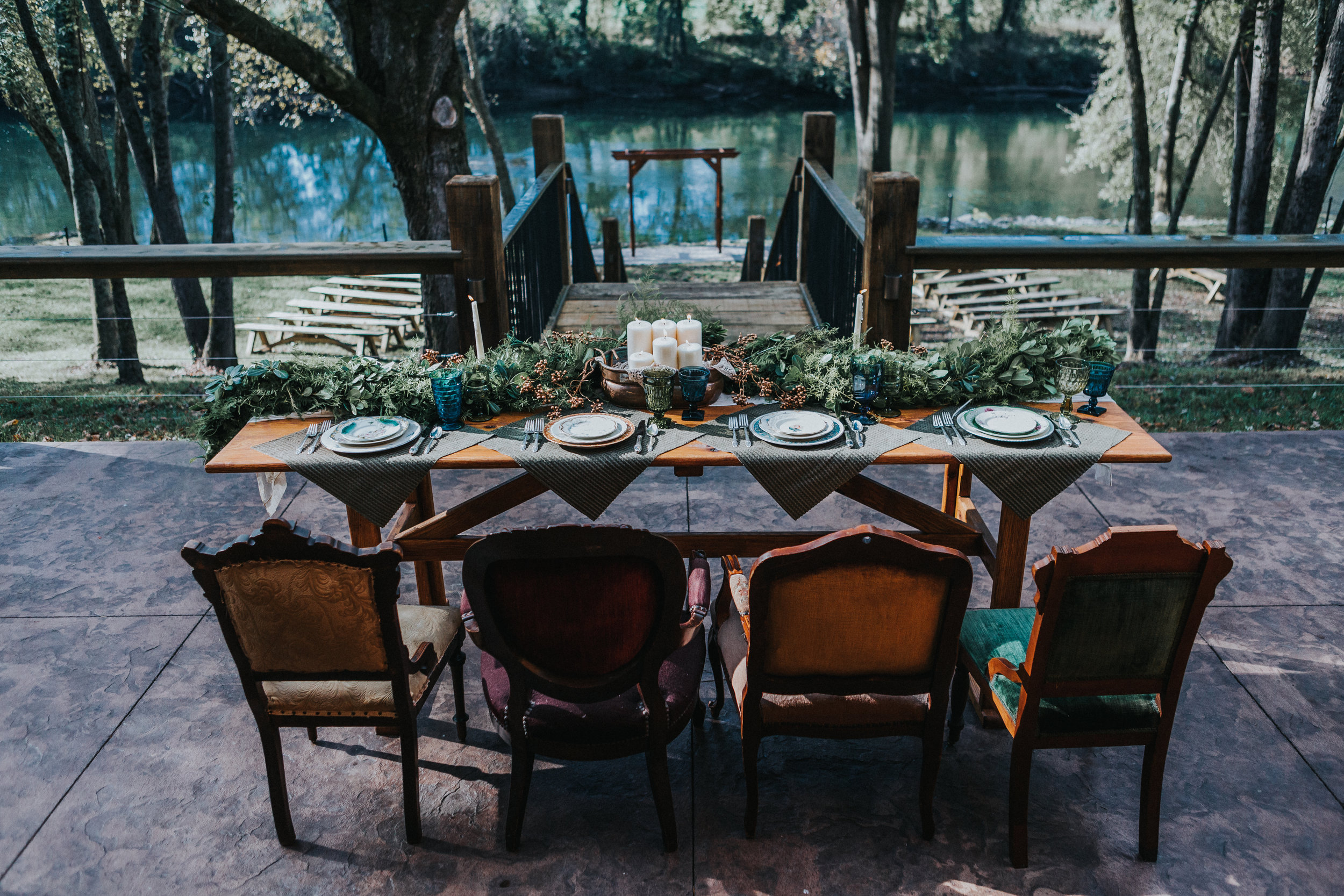 Eclectic Boho Head Table at Hiwassee River Weddings