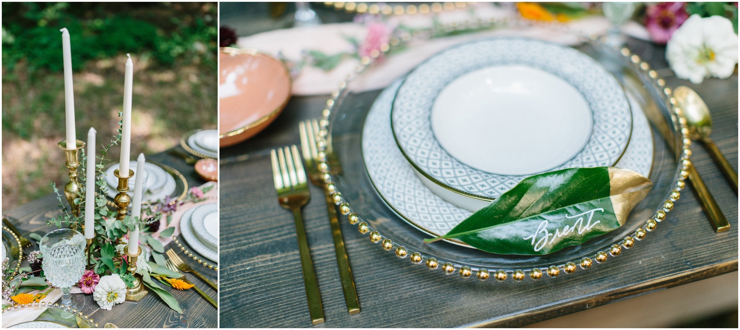 PHOTOGRAPHY -  HILLARY LEAH PHOTOGRAPHY , VENUE -  OAKLEAF COTTAGE , CHINA + FLATWARE -  CHATTANOOGA TENT , FLORALS -  CREEKSIDE FLOWER FARM , CALLIGRAPHY -  LAURA LINES CALLIGRAPHY , VINTAGE RENTALS + DESIGN -  THE COPPER QUAIL