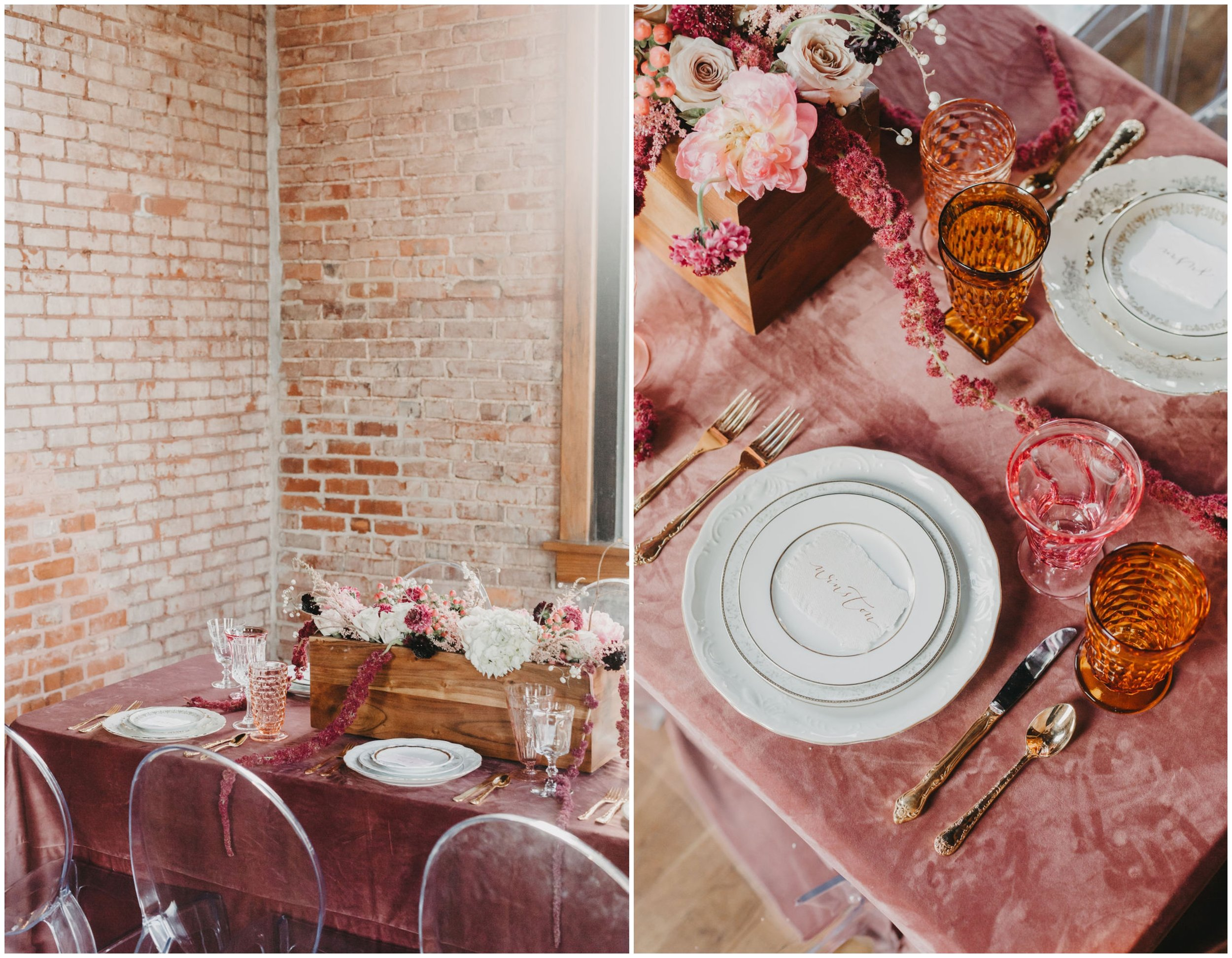 PHOTOGRAPHY -  ALEXIS DIMMER PHOTOGRAPHY , VENUE -  THE CHURCH ON MAIN , PLANNER -  ELIZABETH EVENTS , CALLIGRAPHY -  WHITE INK CALLIGRAPHY , FLORIST -  STEMS AT FIVE POINTS , GHOST CHAIRS -  LUMA DESIGNS , VELVET TABLECLOTH -  SOUTHERN EVENTS ONLINE , VINTAGE & SPECIALTY RENTALS -  THE COPPER QUAIL