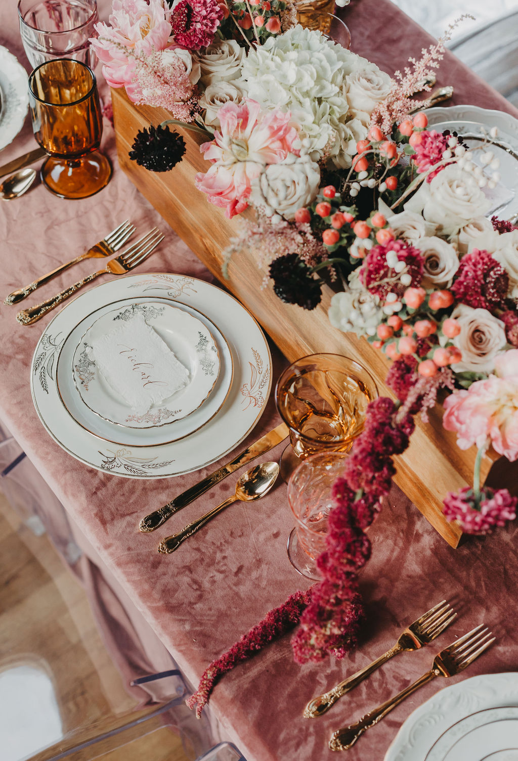 Velvety Pink Wedding Table by The Copper Quail