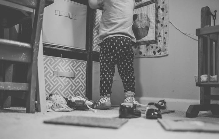 girl in shoes playing