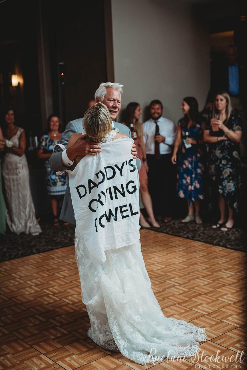 Custom Daddys Crying Towel for First Dance Wedding.JPG