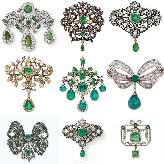 Diamonds and Emerald, Georgian and Victorian brooches... #GIO_wellery . . Images from different sources..