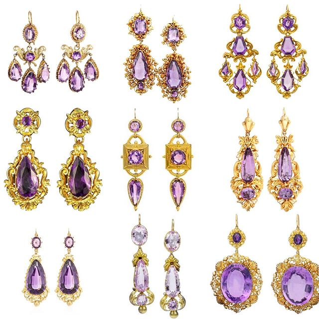Gold and amethyst Victorian and Gregorian antique hearings .  #GIO_wellery . Pics from different sources