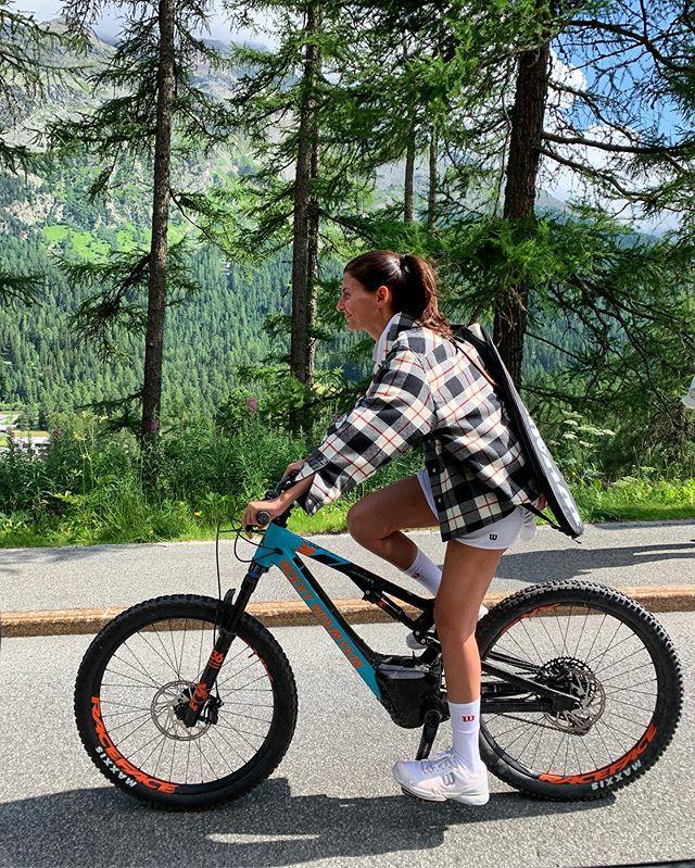 Biking 🚴♀️ on the way to tennis 🎾 but make it fashion in Miu Miu jacket