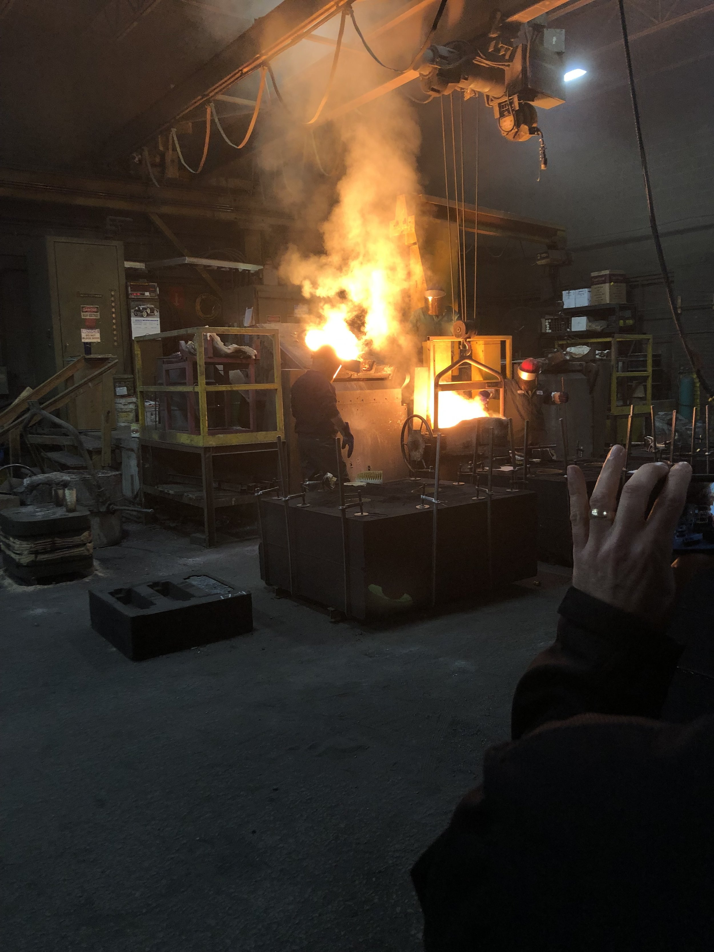 Trident Alloys pouring Steel into a mold