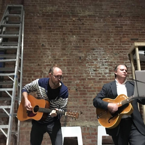 Adam DeGraff and Tyler Burba, hosts of Kith & Kin, at SculptureCenter.