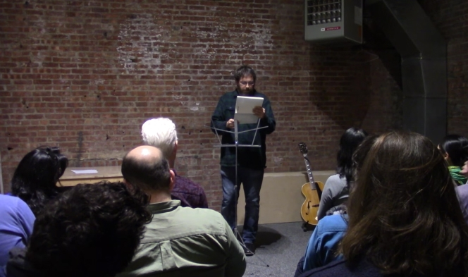 Anselm Berrigan reading at the SculptureCenter.