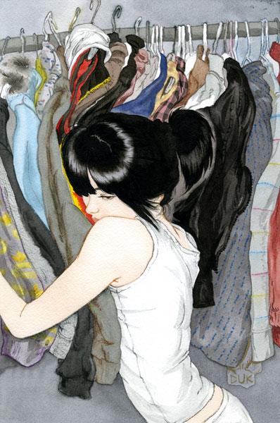 Clothing Girl  Kyungduk Kim Watercolor 7 x 10.5 inches
