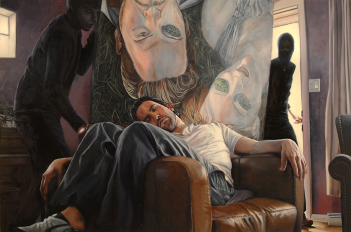 The Theft of Culture (After Maurizio Cattelan)  Gabriel Garza Oil on Canvas, 48 x 72 inches