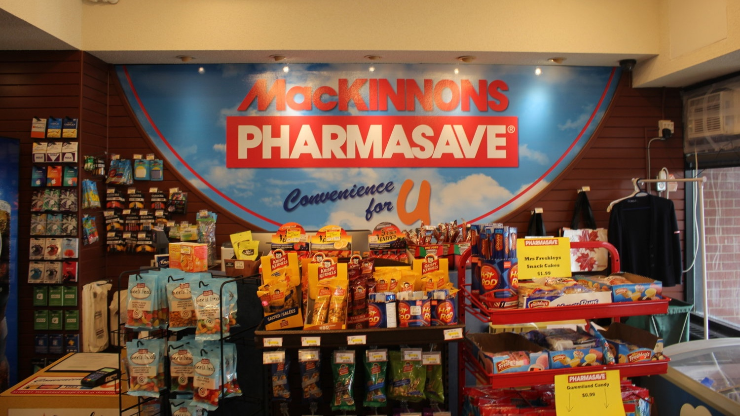 MacKinnons Pharmasave Convenience for U - From study snacks to shampoo, medicine and flu shots - we've got you covered! We're open daily, 9 am - 9pm, 2nd floor Bloomfield Centre. Don't forget to transfer your perceptions to our full service pharmacy for additional savings with your student heath card. Our pharmacy is open weekdays noon - 4pm, with a convenient prescription drop off box for after hours.