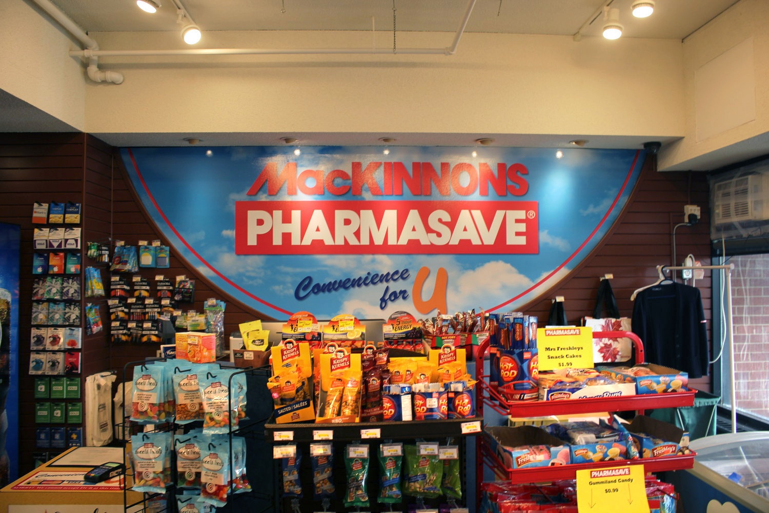 MacKinnons Pharmasave Convenience for U - From study snacks to shampoo, medicine and flu shots - we've got you covered! We're open daily, 9 am - 9pm, and weekend  12 PM to 9 PM on 2nd floor Bloomfield Centre. Don't forget to transfer your perscriptions to our full service pharmacy for additional savings with your student heath card. Our pharmacy is open weekdays 11am - 4pm, with a convenient prescription drop off box for after hours. Phone: 902-863-2376