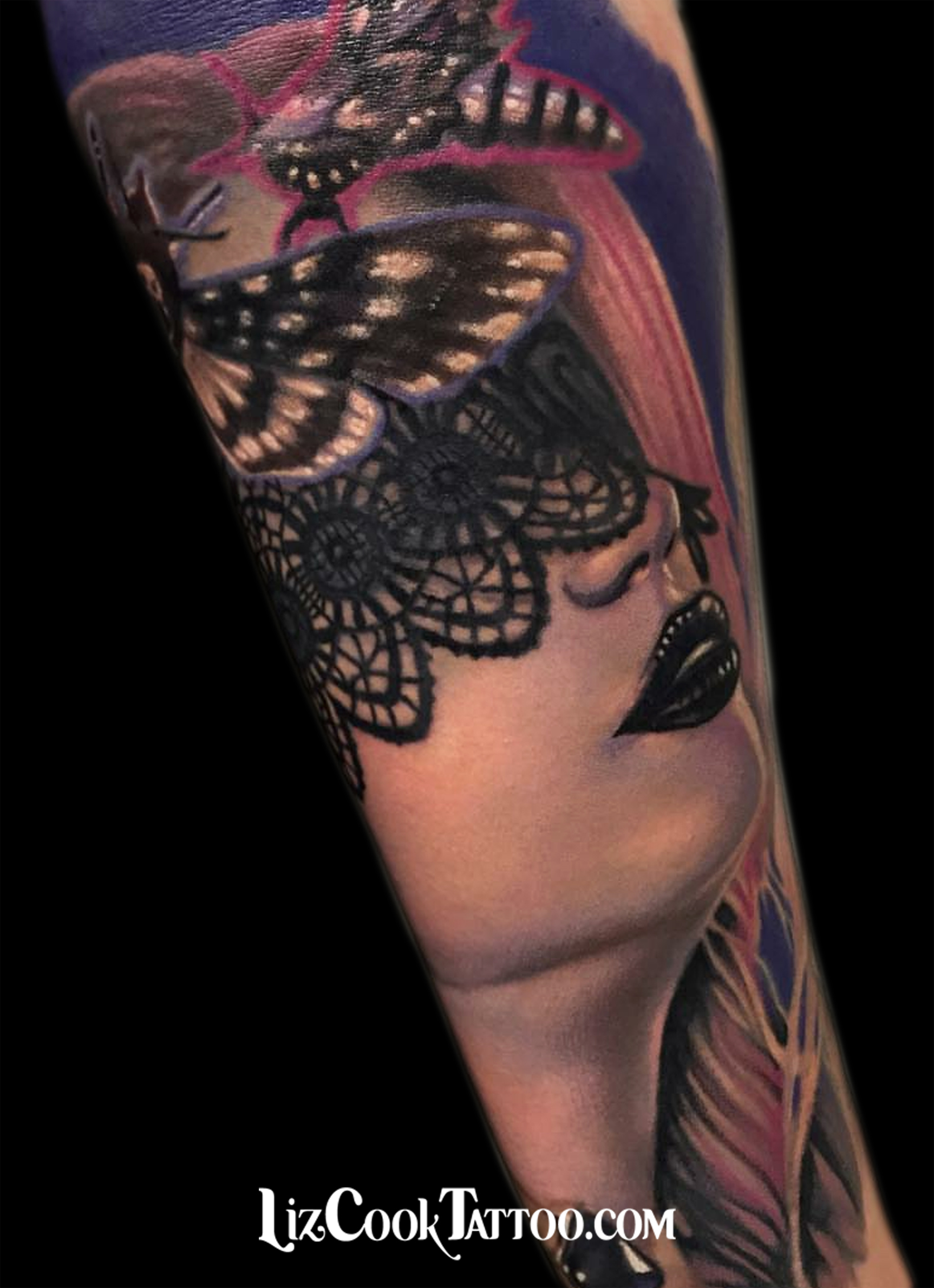 Liz Cook Tattoo Liz Girl Moth Lace Color Portrait Illustrative Realism Inner Forearm