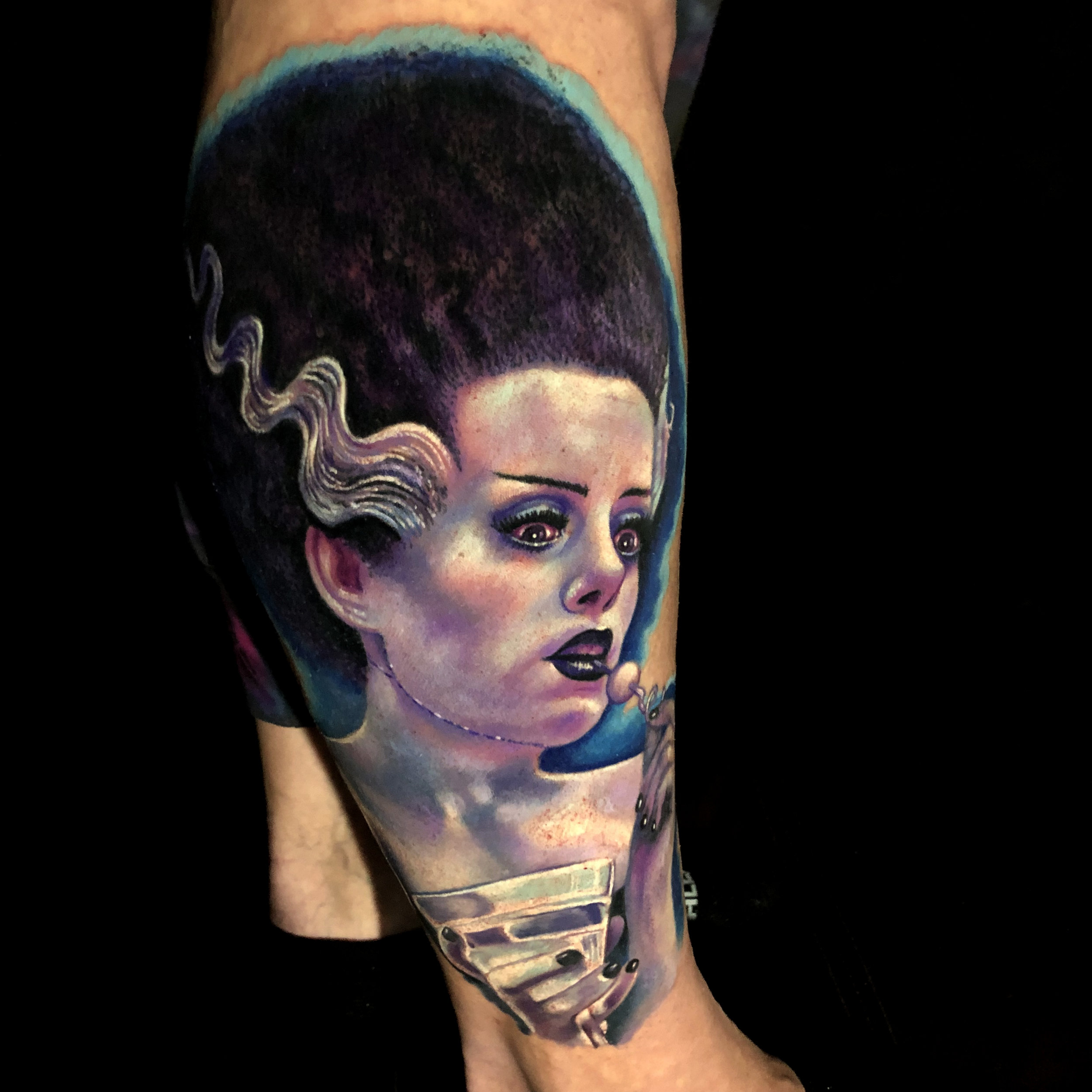 Liz Cook Tattoo Bride of Frakenstein Elsa Lanchester Monochromatic Color Portrait Purple Martine Glass Front.jpg
