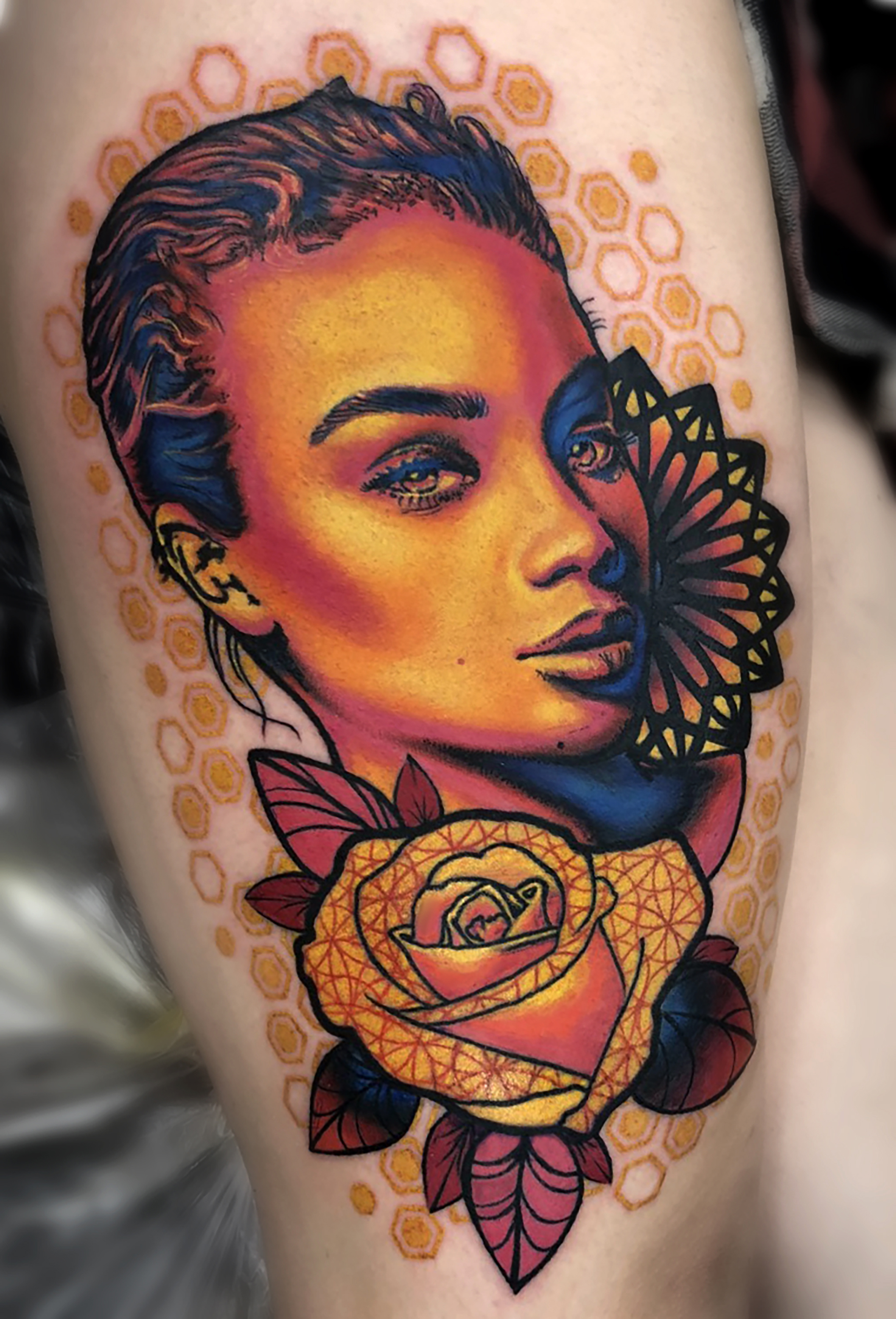 Liz Cook Tattoo Liz Girl Geo Jasmine Roses Color Upper Thigh.jpg