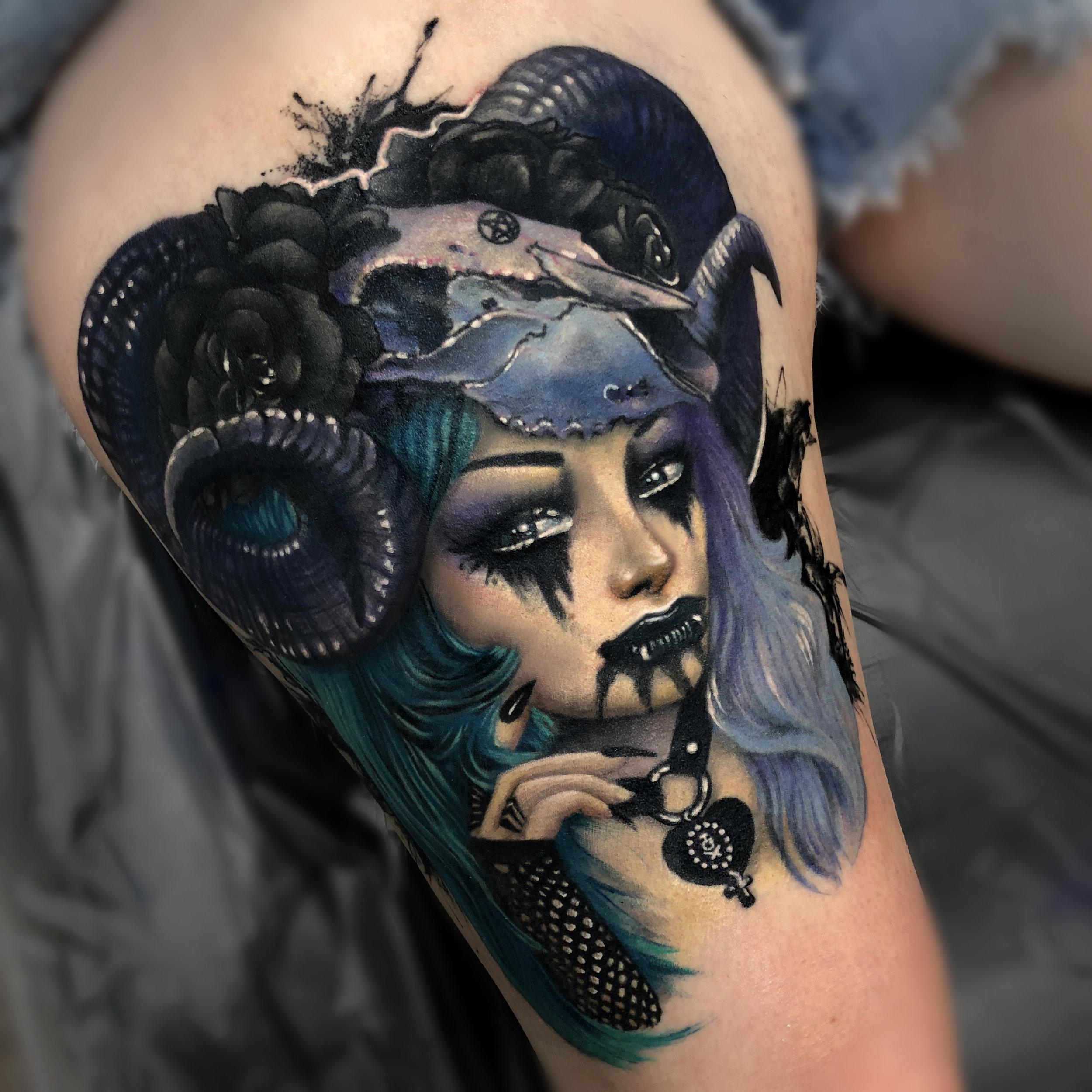 Liz Cook Tattoo Liz Girl Metal Color Thigh.jpg