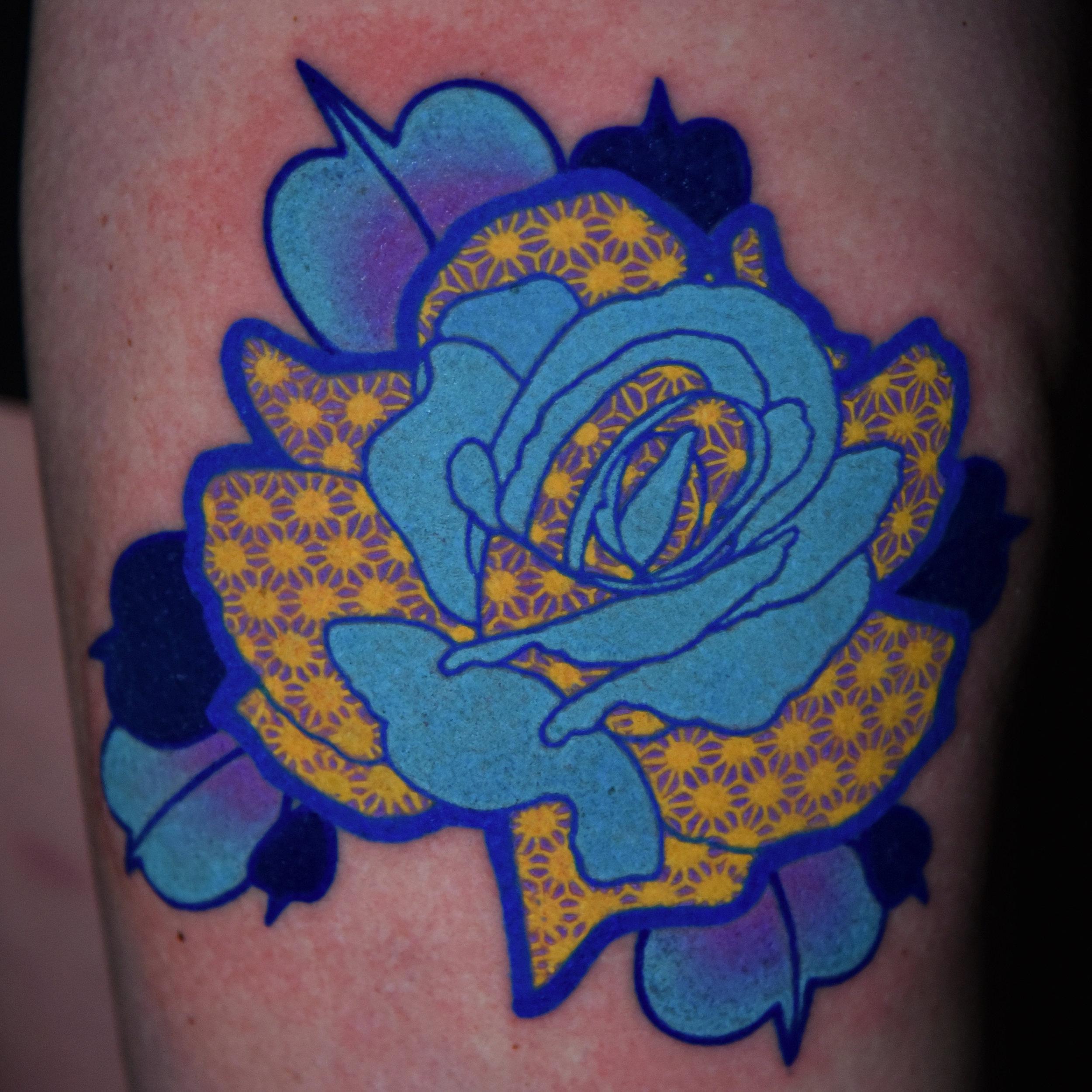 Liz Cook Tattoo Rose Geo Blue Yellow Lavender Upper Thigh.jpg