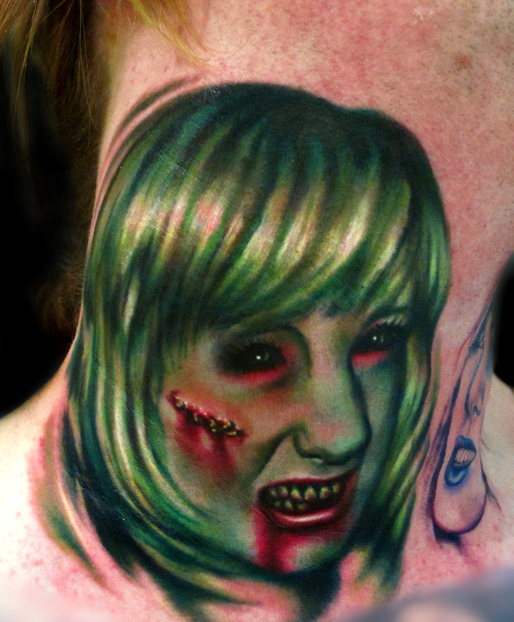 Portrait Tattoo Zombie Green Girl Realistic Liz Cook Dallas Texas 300res.jpg