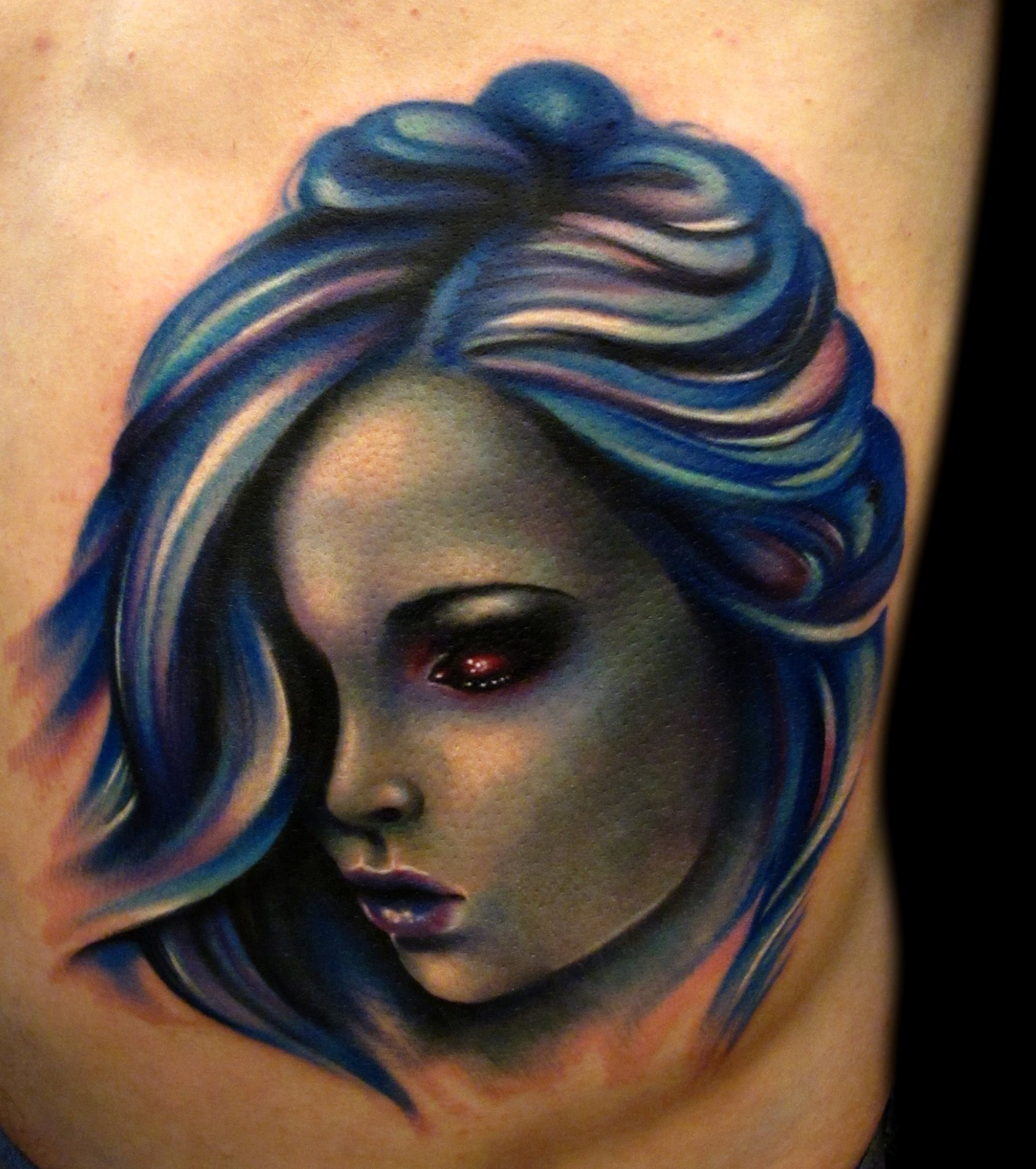 Portrait Tattoos Blue Hair Alternative Girl Liz Cook Dallas Texas.jpg