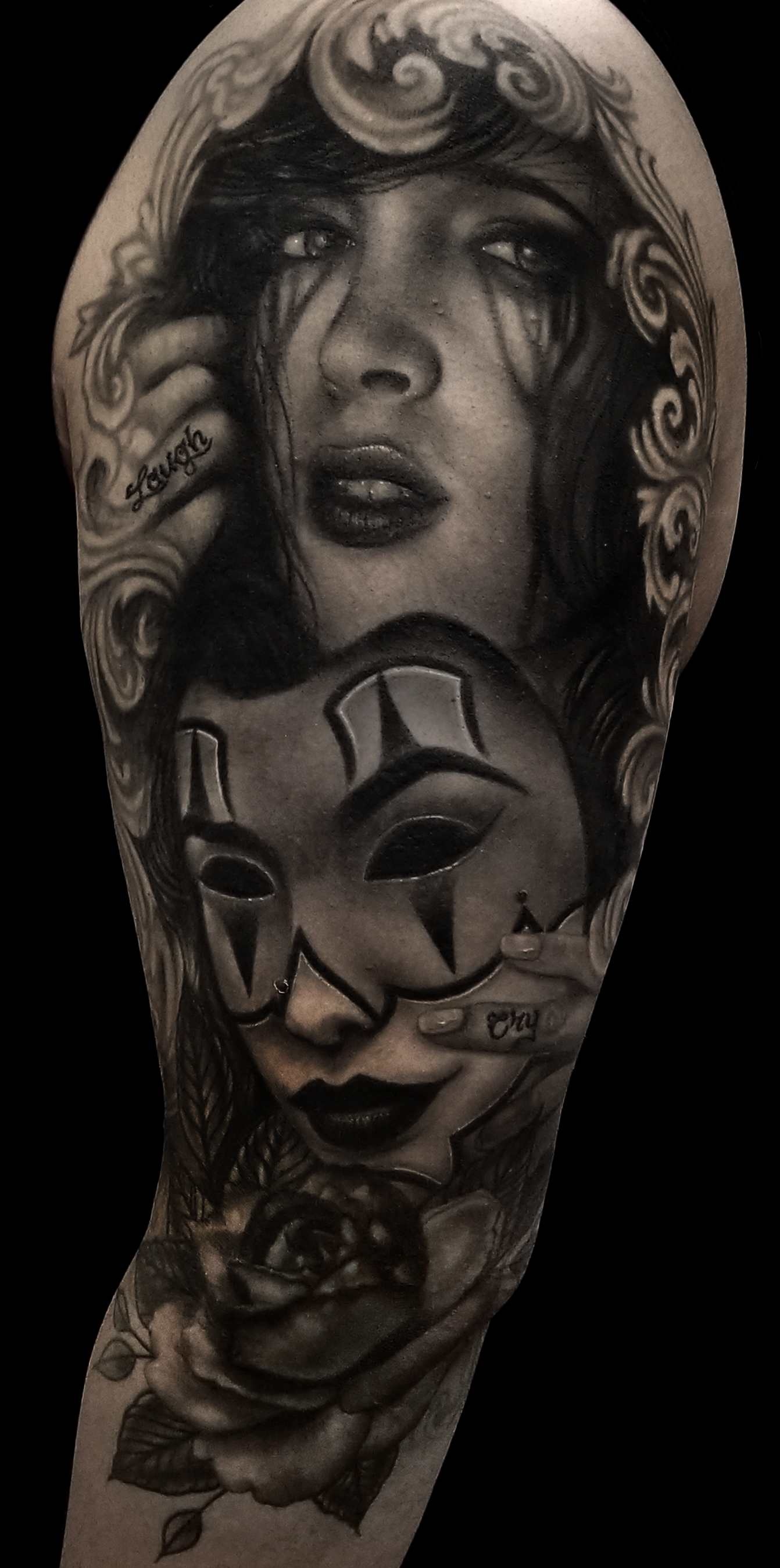 LCT Black & Gray Realism Portrait Laugh Now Cry Later Girl Rose  Tattoo.jpg