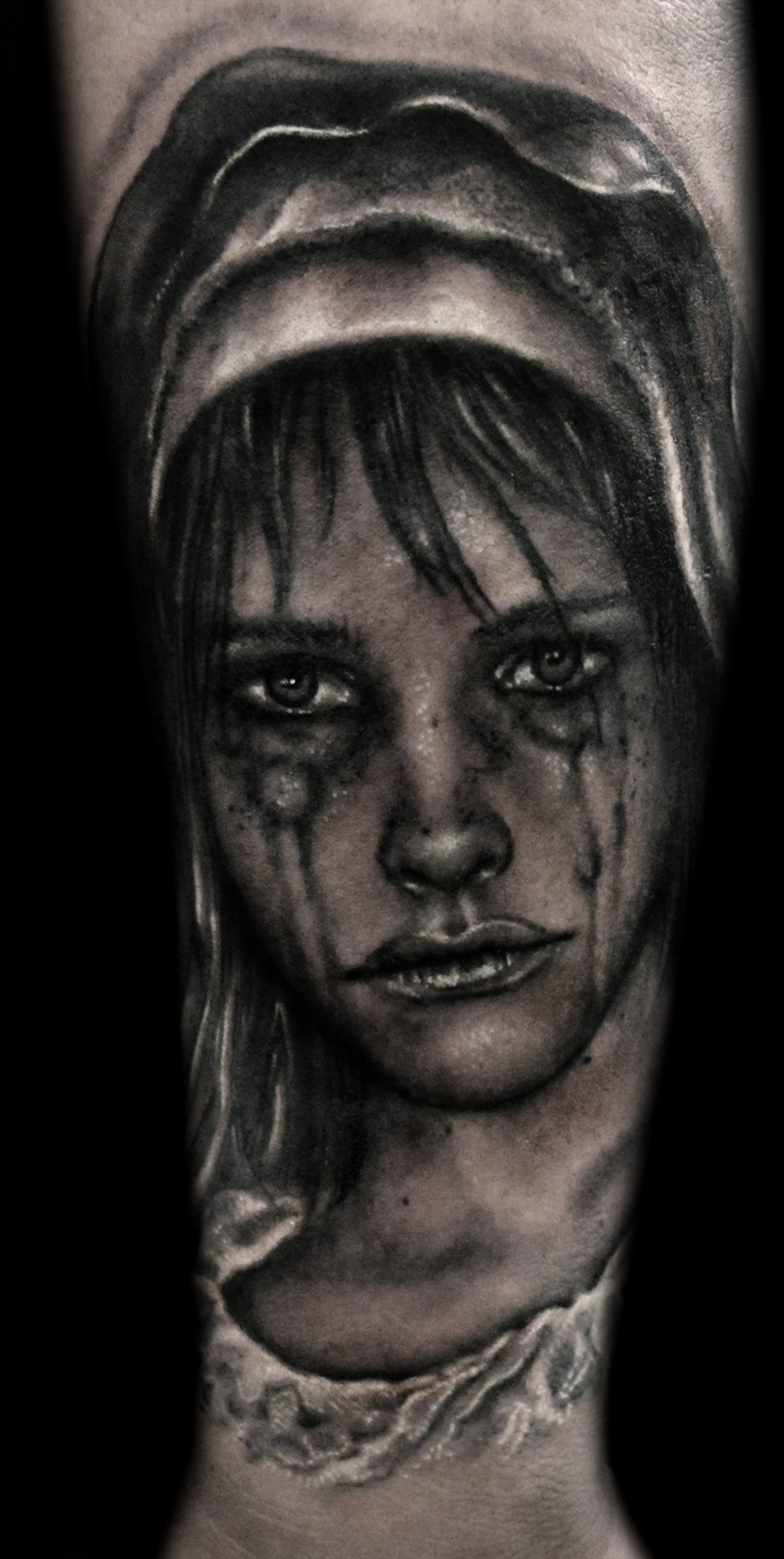 Liz Cook Tattoo Black & Grey Realistic Portrait Crying Virgin Mary.jpg