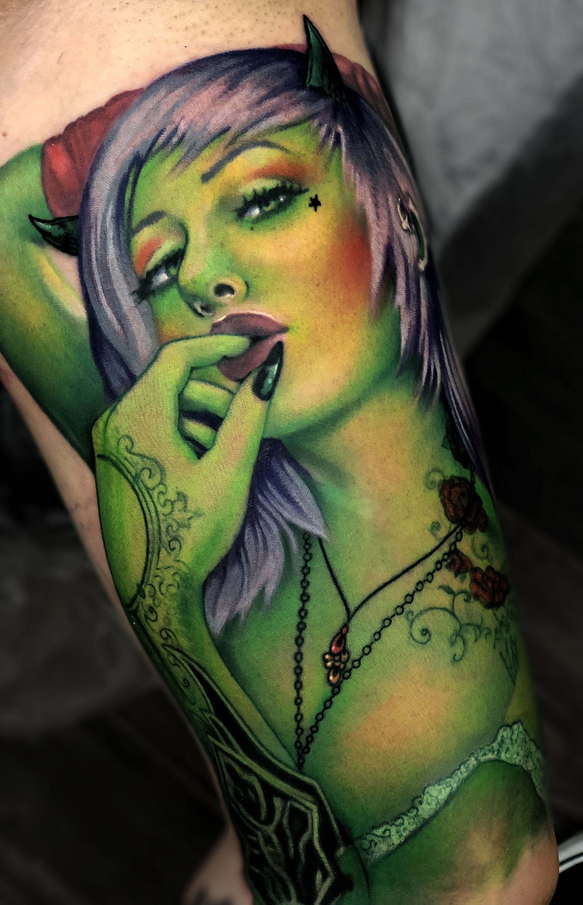 Liz Cook Tattoo Green Devil Pinup Color.jpg