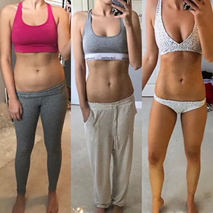 Stephanie Jakubek - start of program, 4 weeks, 8 weeks