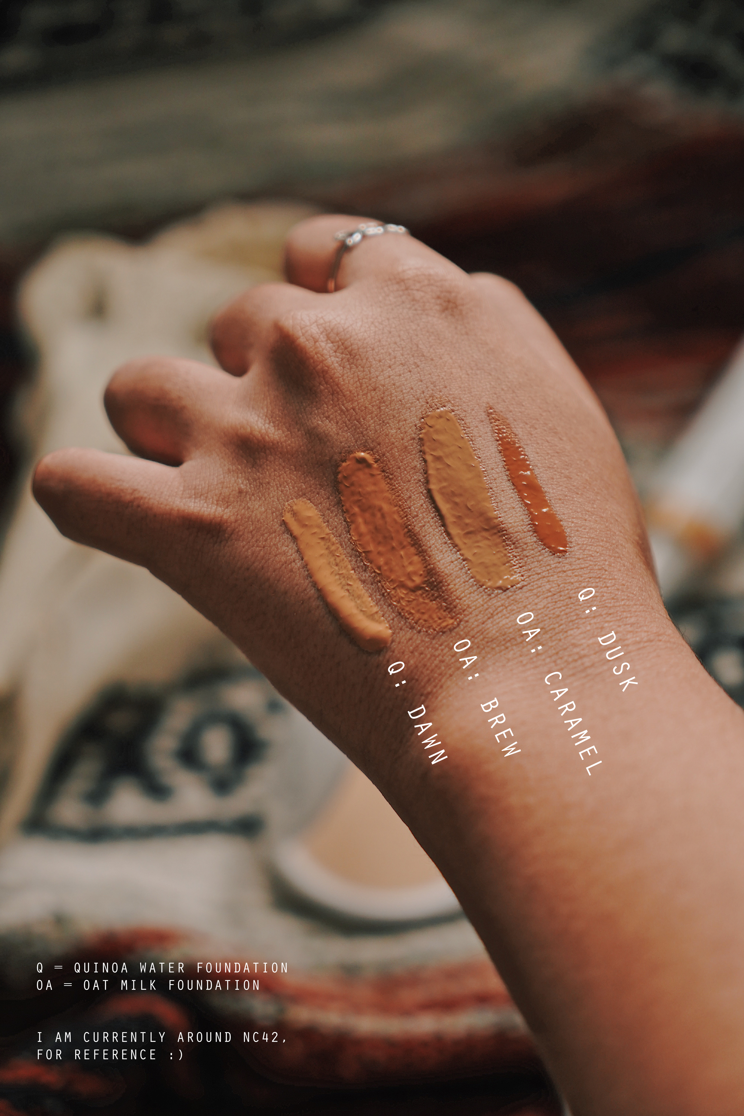 Shade comparison between the two foundations and my shade options (I am currently around NC42, for reference)