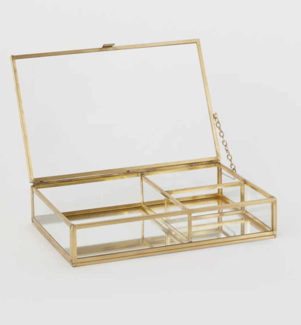H&M HOME  Clear Glass Jewelry Box
