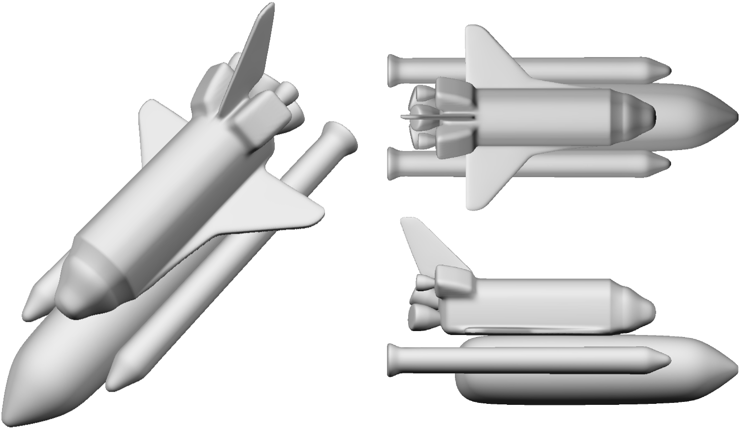 A Space Shuttle modeled with blended implicit sweeps