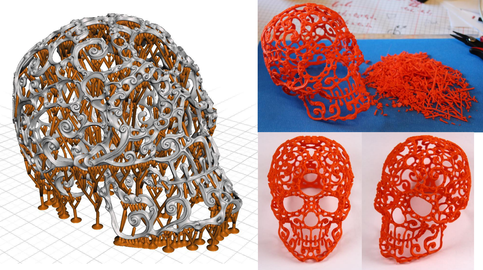 I generated supports for this awesome skull that a user sent in (unfortunately I have lost the name). Removal took a few hours, but this print would be impossible with standard chunky supports