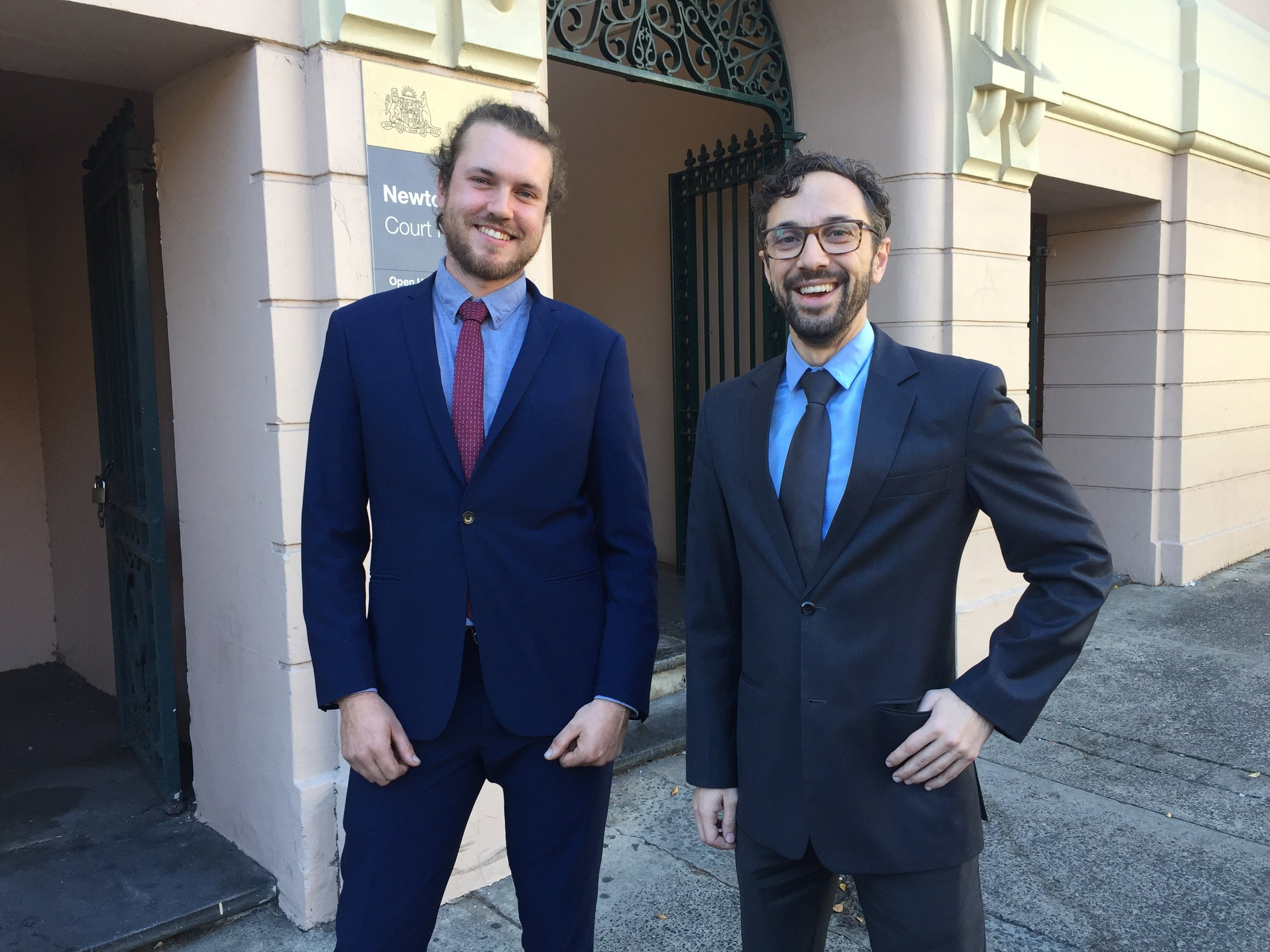 Alec Kitching (at left) with youth solicitor Vasili Maroulis from Marrickville Legal Centre