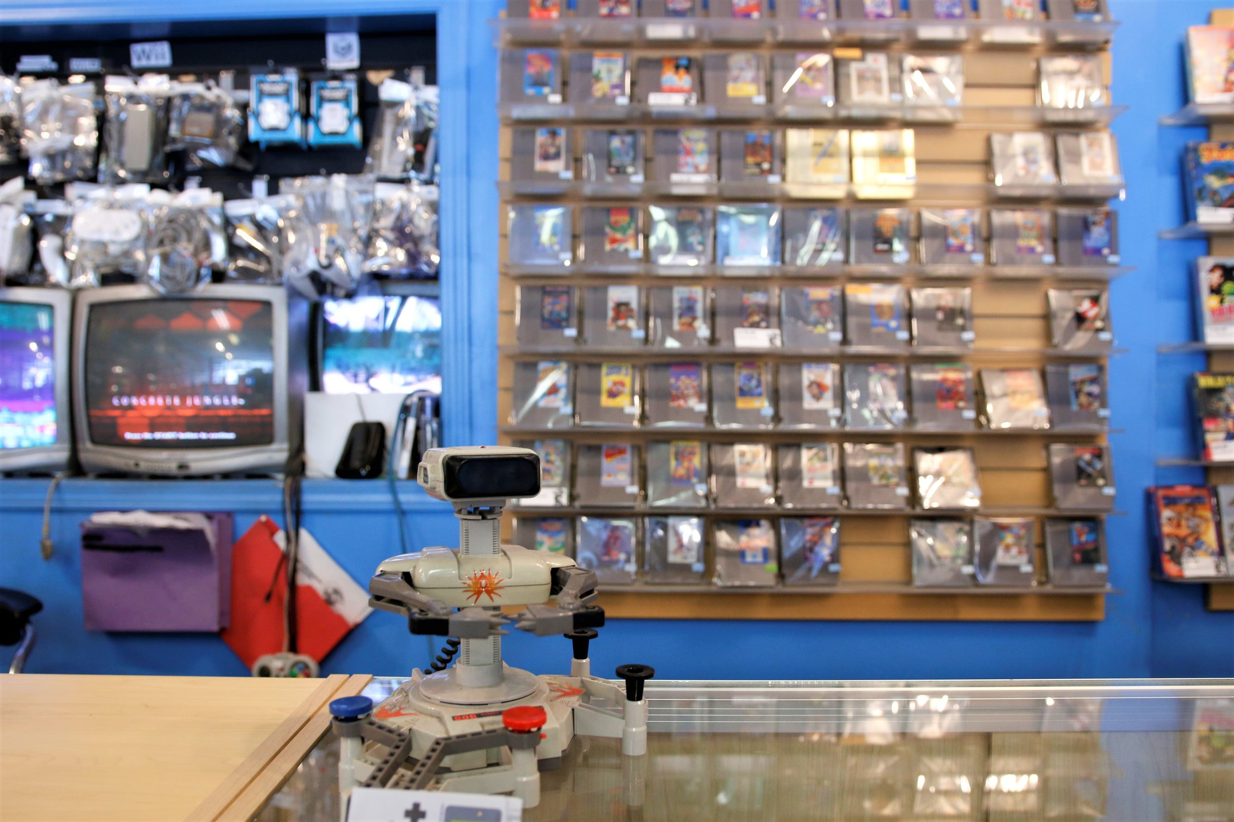 Meet R.O.B. He was launched by  NES in 1985 . Now he lives on the counter at Nexwave. Come say hi and play some Gyromite with him! He loves company.