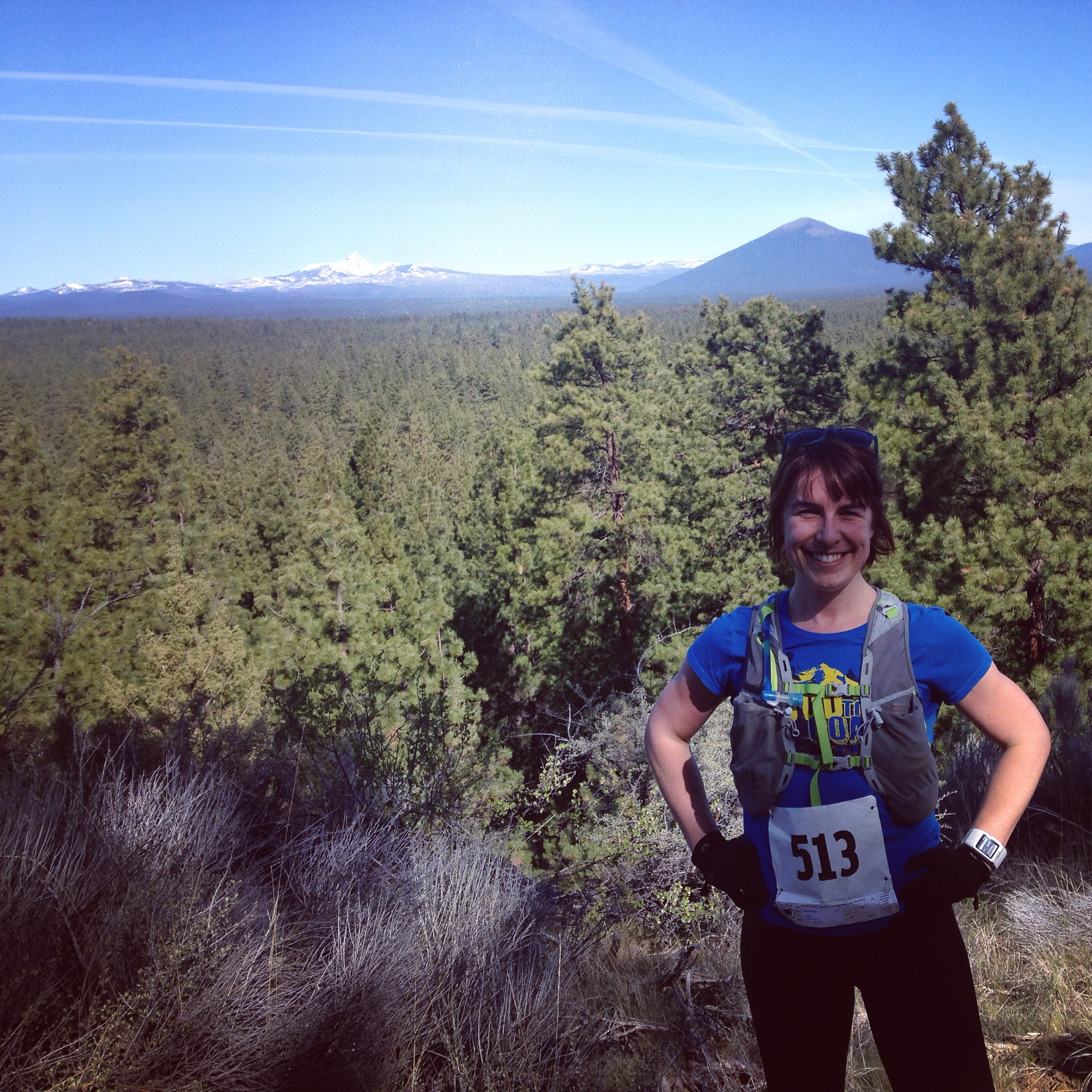The first time I have let someone take a picture of me during a race. I think that is Black Butte directly over my head.