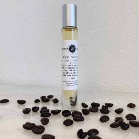 Roots & Crowns  Wide Awake Eye Serum  I have never loved putting on eye serum more than using this coffee bean enhanced (and delicious smelling!!!) roll-on!