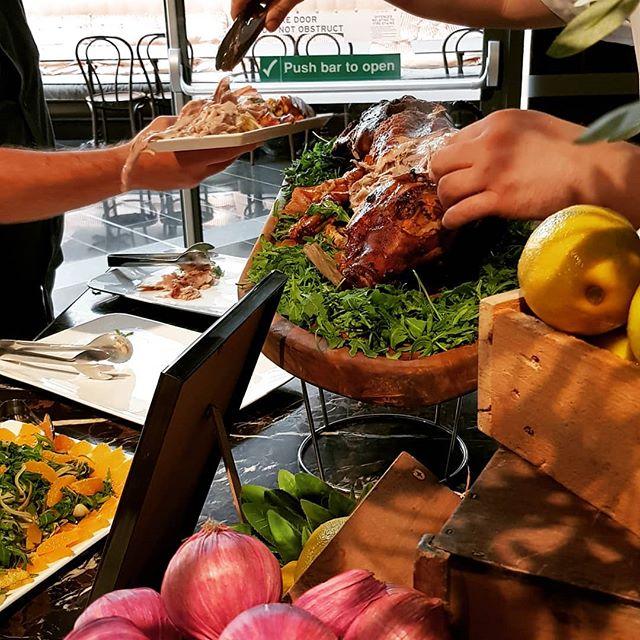 Corporate wine and food tasting with roast pork