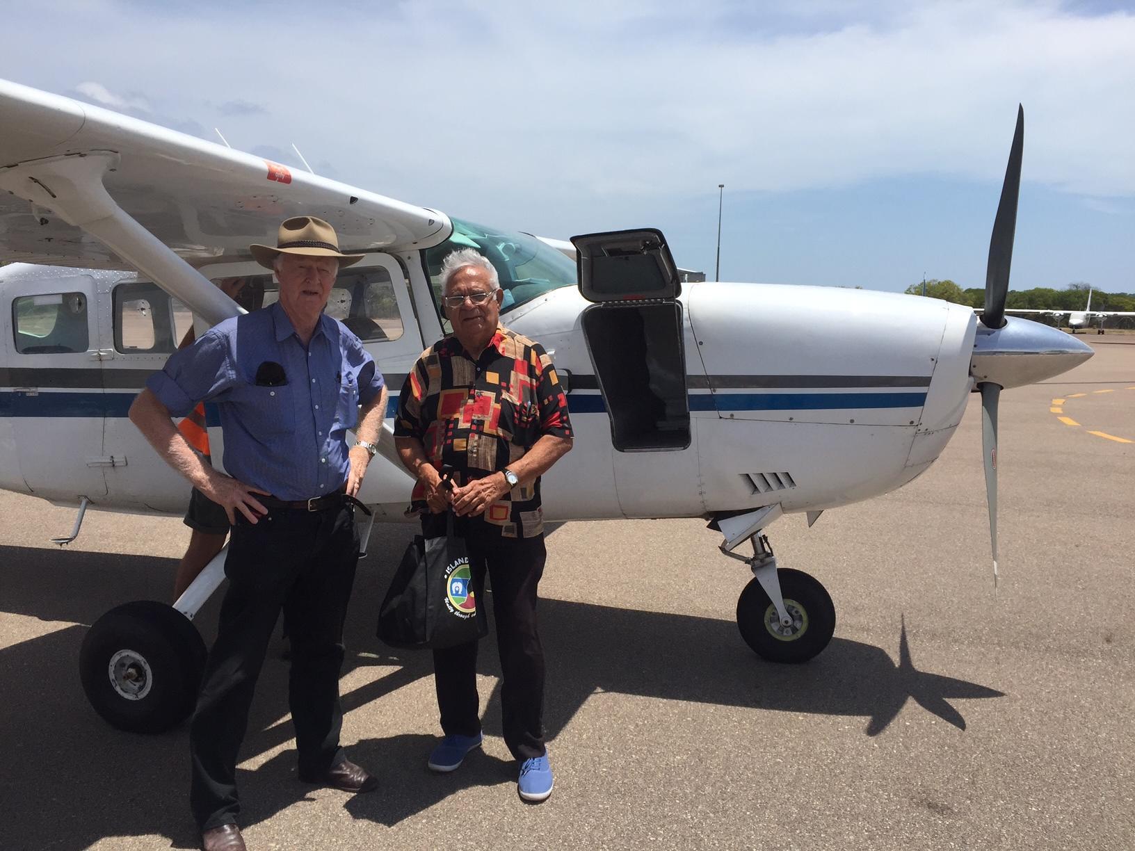 Lindsay McDowell & Rodney Rivers (Kimberley Elder). 19 years of travelling to all Aboriginal & Torres Strait Islander communities.