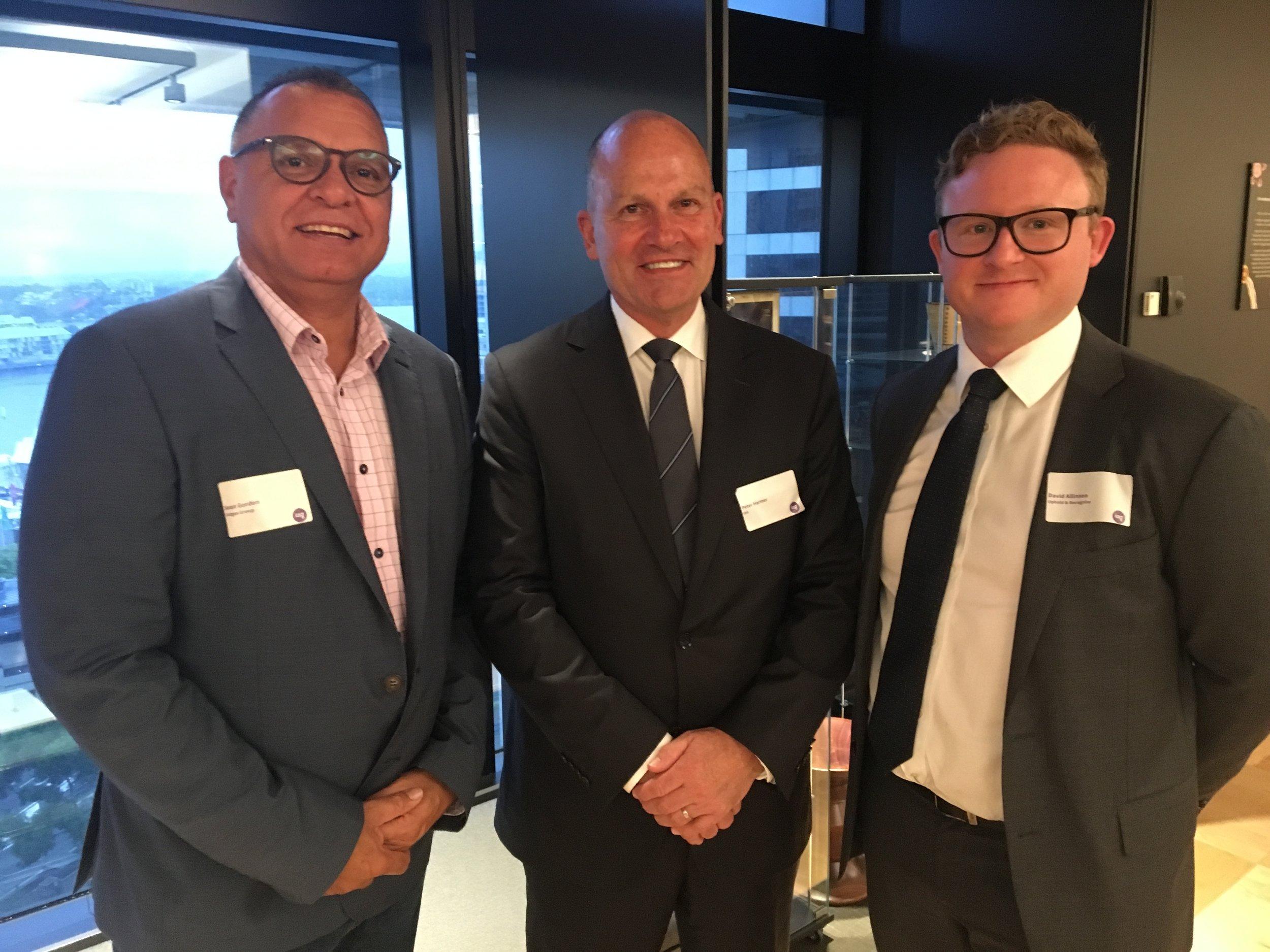 Sean Gordon, David Allinson, and Peter Harmer at the IAG RAP launch, 21 Feb 2019