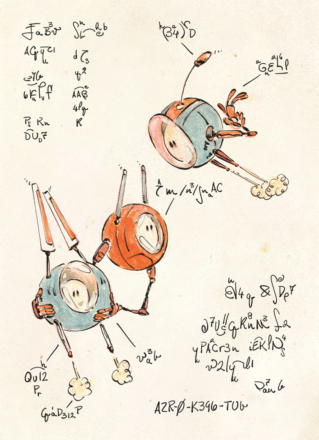 AZR-0 Robots - Book Illustration - sample page 2