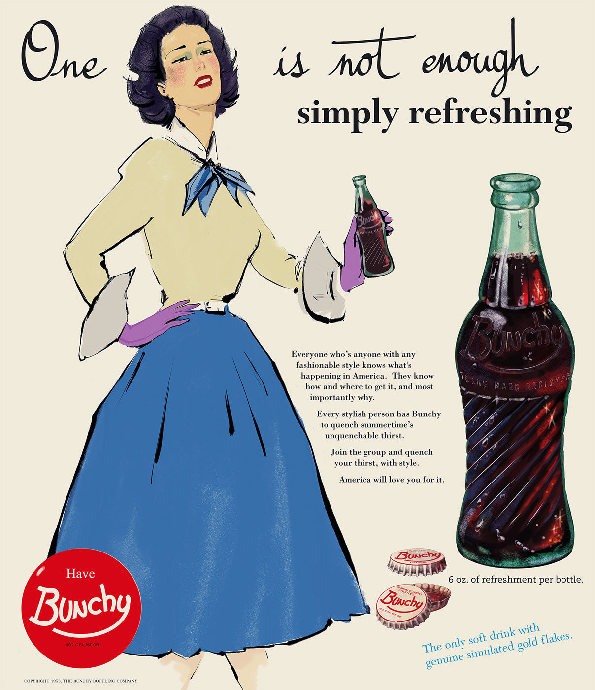 """Bunchy cola - Advertisement - """"One is not enough"""""""