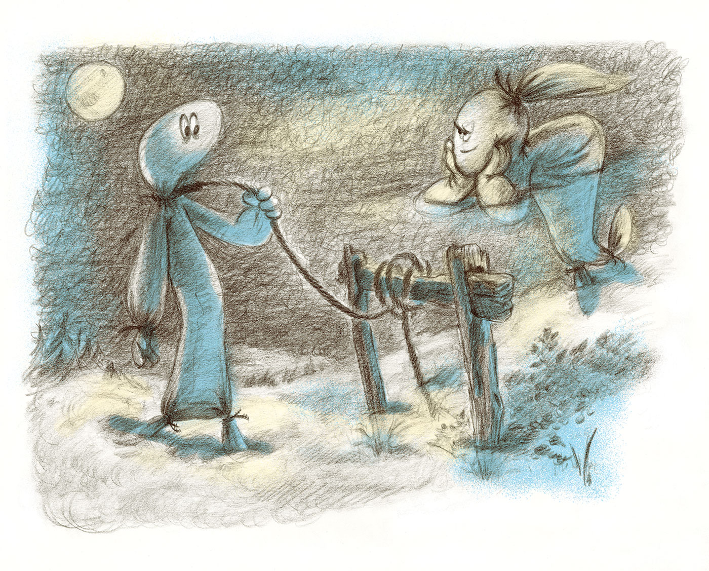 Spooky Ghosts - Book Illustration - At Full Moon