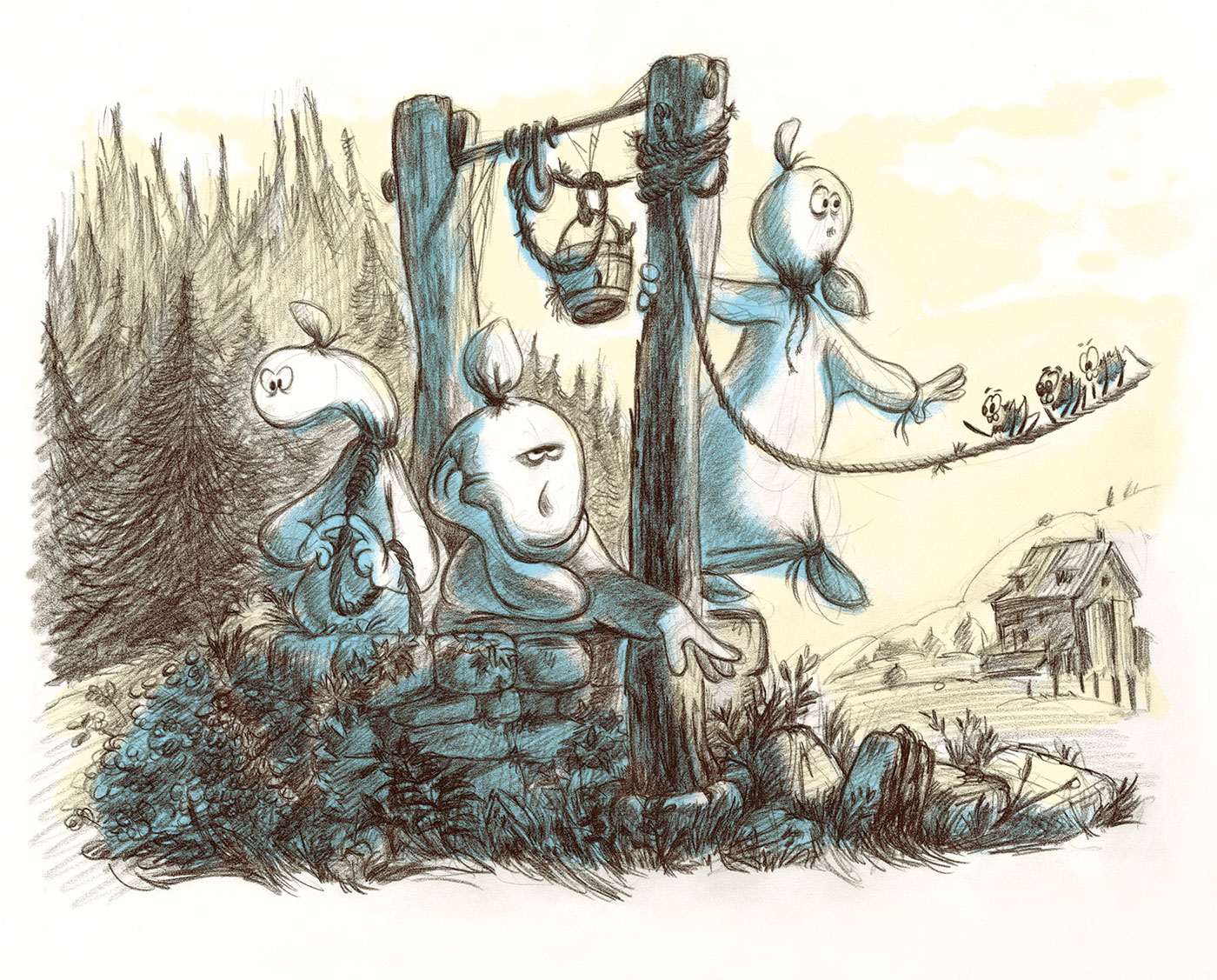 Spooky Ghosts - Book Illustration - At The Well