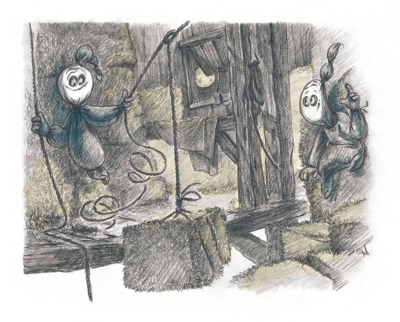 Spooky Ghosts - Book Illustration - In the barn